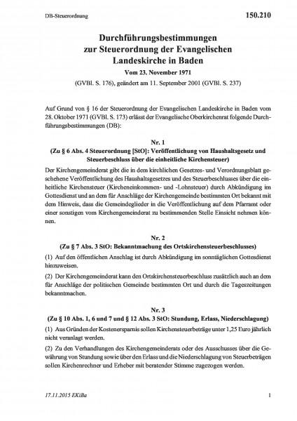 150.210 DB-Steuerordnung