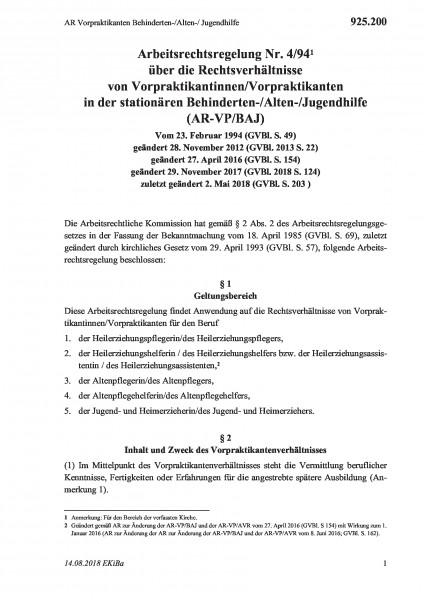 925.200 AR Vorpraktikanten Behinderten-/Alten-/ Jugendhilfe
