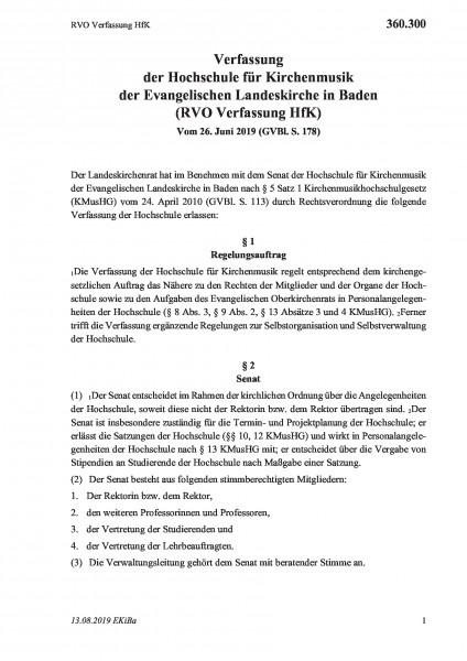 360.300 RVO Verfassung HfK