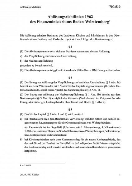 700.510 Ablösungsrichtlinien