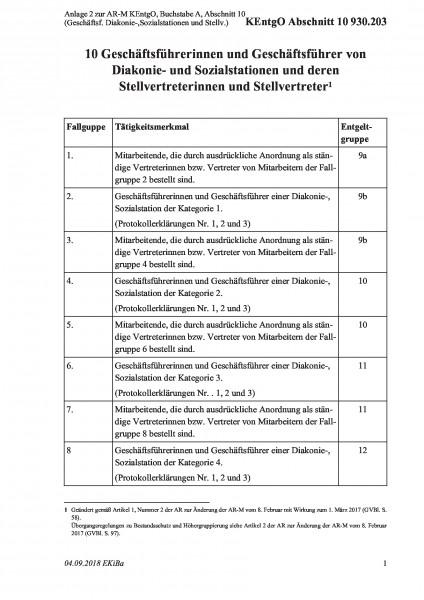 930.203 Anlage 2 zur AR-M KEntgO, Buchstabe A, Abschnitt 10 (Geschäftsf. Diakonie-,Sozialstationen u