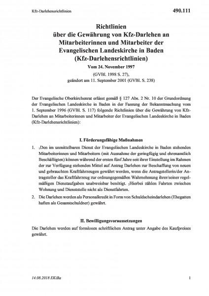 490.111 Kfz-Darlehensrichtlinien