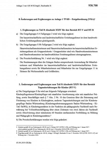 930.700 Anlage 2 zur AR-M KEntgO, Buchstabe B