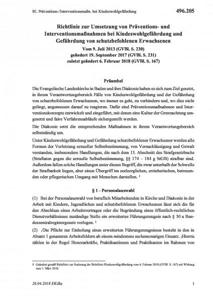 496.205 RL Präventions-/Interventionsmaßn. bei Kindeswohlgefährdung