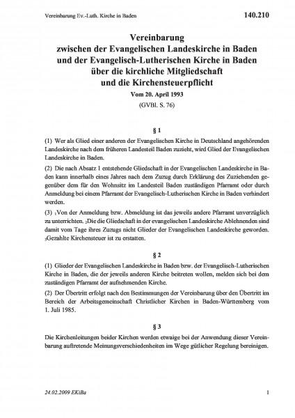 140.210 Vereinbarung Ev.-Luth. Kirche in Baden