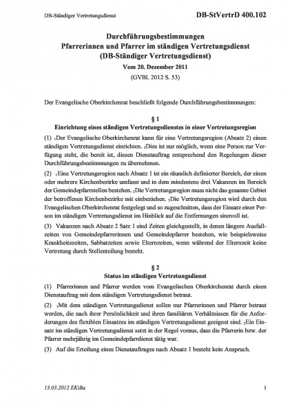 400.102 DB-Ständiger Vertretungsdienst