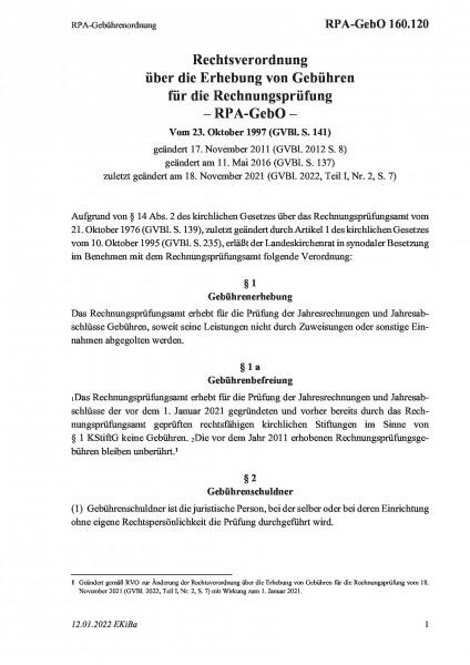 160.120 RPA-Gebührenordnung