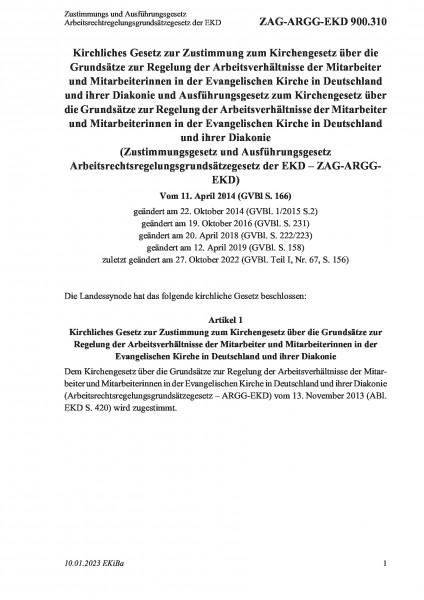 900.310 Zustimmungs und Ausführungsgesetz Arbeitsrechtregelungsgrundsätzegesetz der EKD