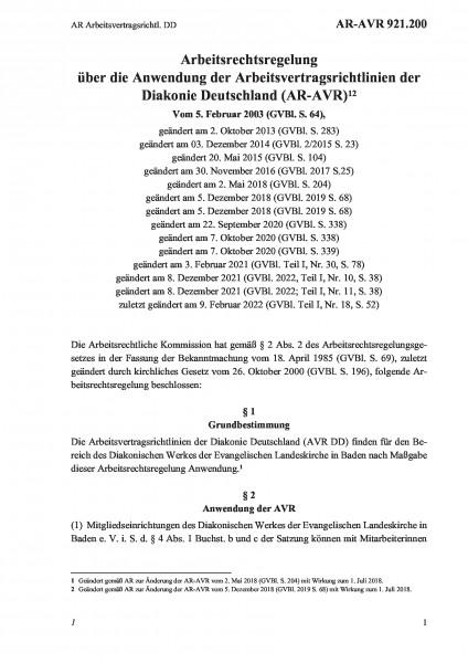 921.200 AR Arbeitsvertragsrichtl. DD