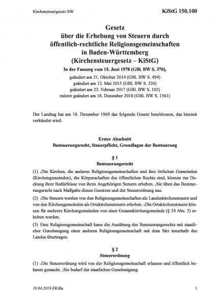 150.100 Kirchensteuergesetz BW