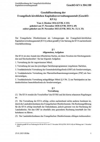 504.100 Geschäftsordnung der Evangelisch-kirchlichen Kapitalienverwaltungsanstalt