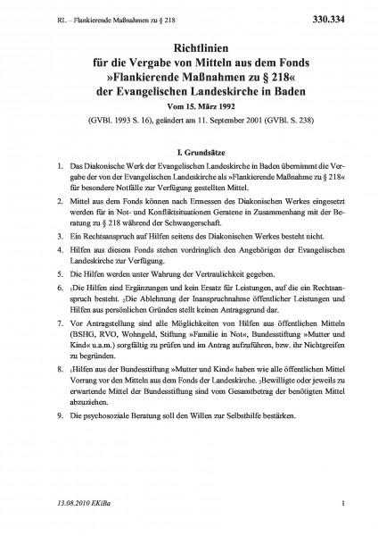 330.334 RL – Flankierende Maßnahmen zu §218