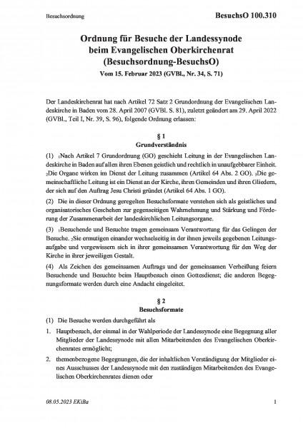 100.310 Ordnung für Besuche der Landessynode beim Evangelischen Oberkirchenrat