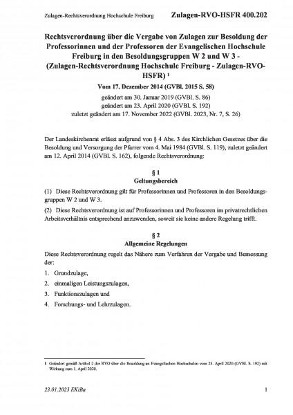 400.202 Zulagen-Rechtsverordnung Hochschule Freiburg