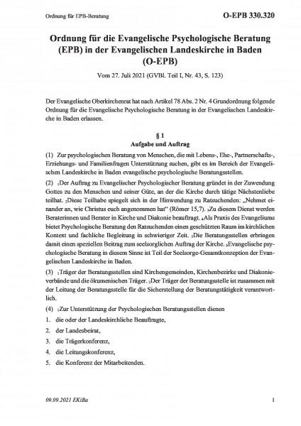 330.320 Ordnung für EPB-Beratung