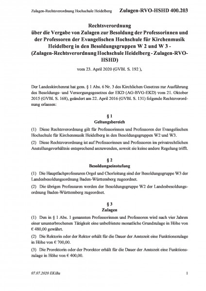 400.203 Zulagen-Rechtsverordnung Hochschule Heidelberg