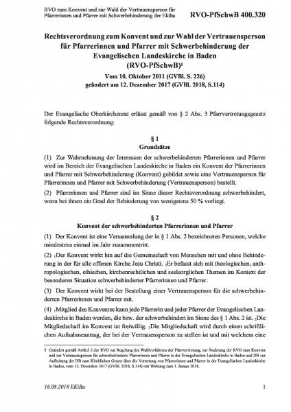 400.320 RVO zum Konvent und zur Wahl der Vertrauensperson für Pfarrerinnen und Pfarrer mit Schwerbeh