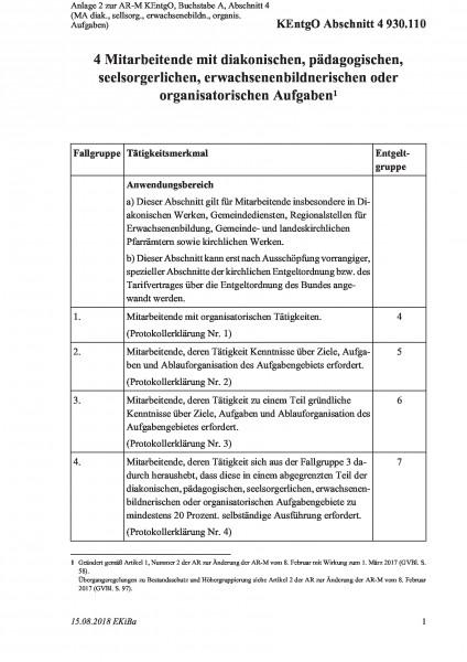 930.110 Anlage 2 zur AR-M KEntgO, Buchstabe A, Abschnitt 4 (MA diak., sellsorg., erwachsenebildn., o