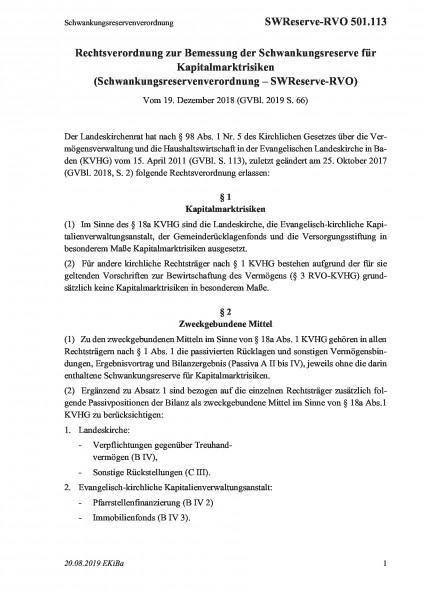 501.113 Schwankungsreservenverordnung