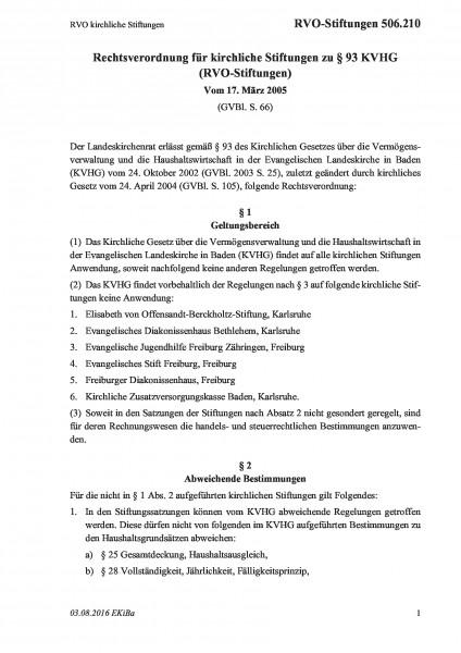 506.210 RVO kirchliche Stiftungen