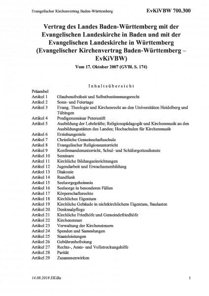 700.300 Evangelischer Kirchenvertrag Baden-Württemberg