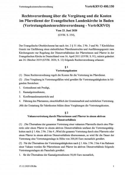 400.150 Vertretungskostenrechtsverordnung