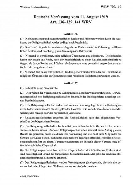 700.110 Weimarer Reichsverfassung