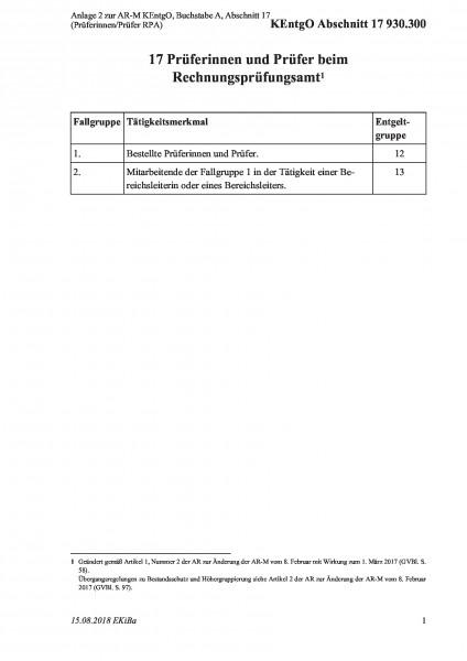 930.300 Anlage 2 zur AR-M KEntgO, Buchstabe A, Abschnitt 17 (Prüferinnen/Prüfer RPA)