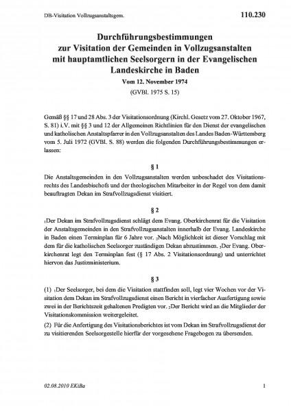 110.230 DB-Visitation Vollzugsanstaltsgem.
