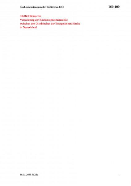 150.400 Kirchenlohnsteueranteile Gliedkirchen EKD
