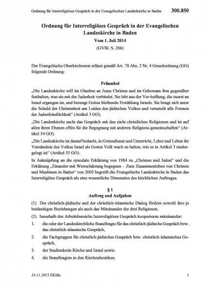 300.850 Ordnung für Interreligiöses Gespräch in der Evangelischen Landeskirche in Baden