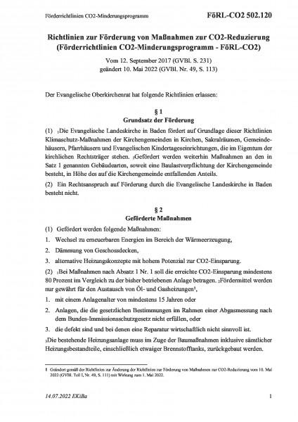 502.120 Förderrichtlinien CO2-Minderungsprogramm