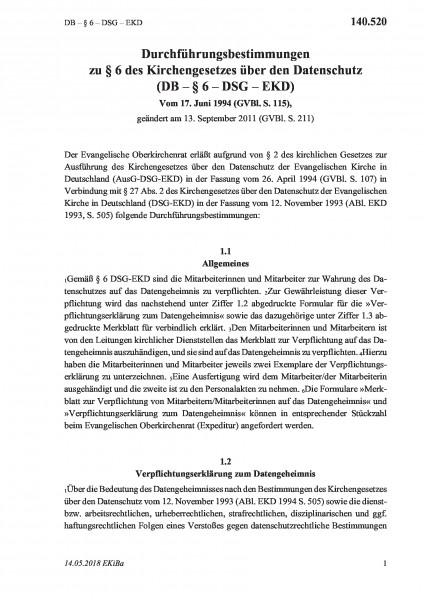 140.520 DB – §6 – DSG – EKD