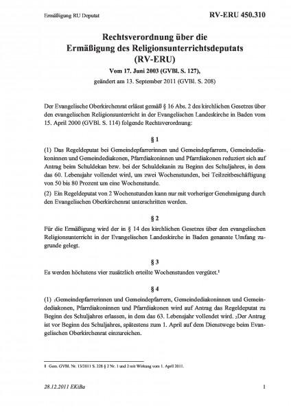 450.310 Ermäßigung RU Deputat