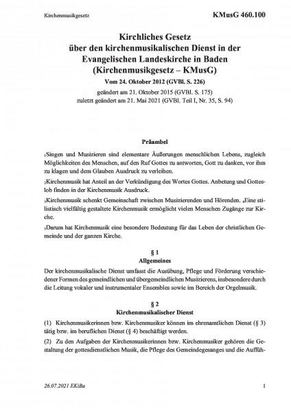 460.100 Kirchenmusikgesetz