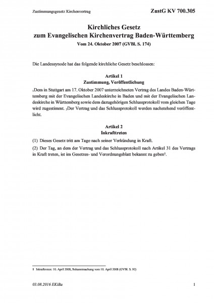 700.305 Zustimmungsgesetz Kirchenvertrag