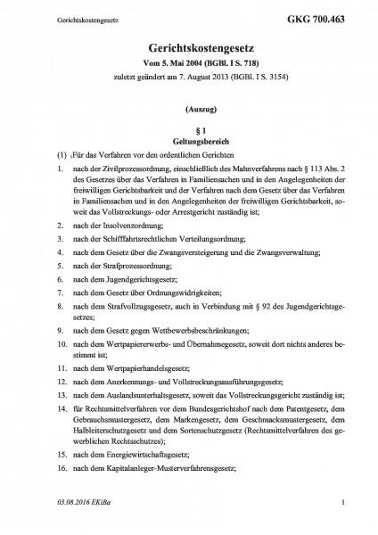 700.463 Gerichtskostengesetz