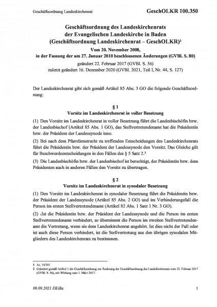 100.350 Geschäftsordnung Landeskirchenrat