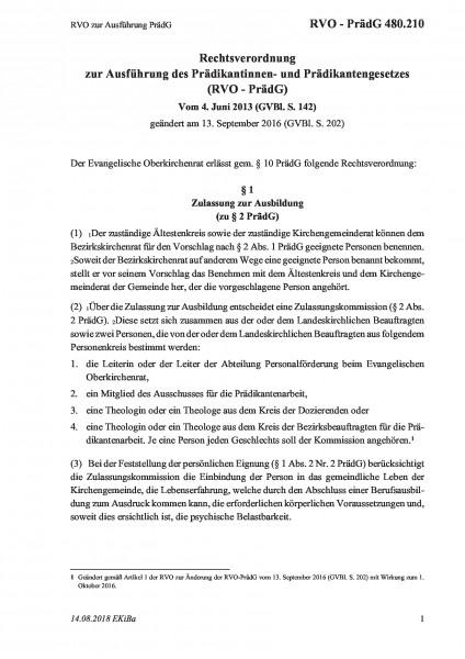 480.210 RVO zur Ausführung PrädG