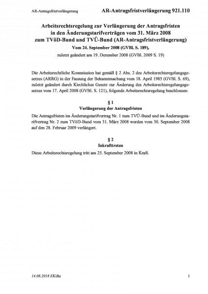 921.110 AR-Antragsfristverlängerung