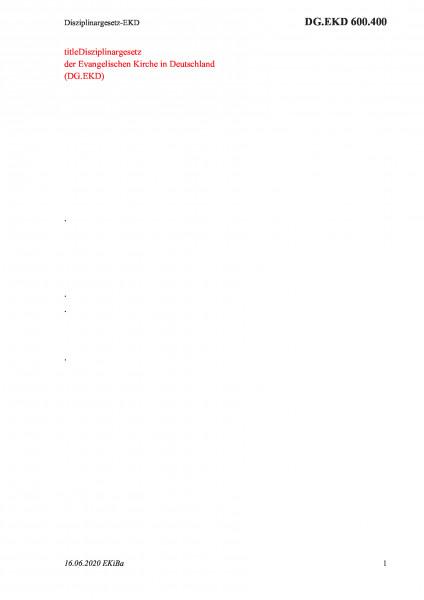 600.400 Disziplinargesetz-EKD