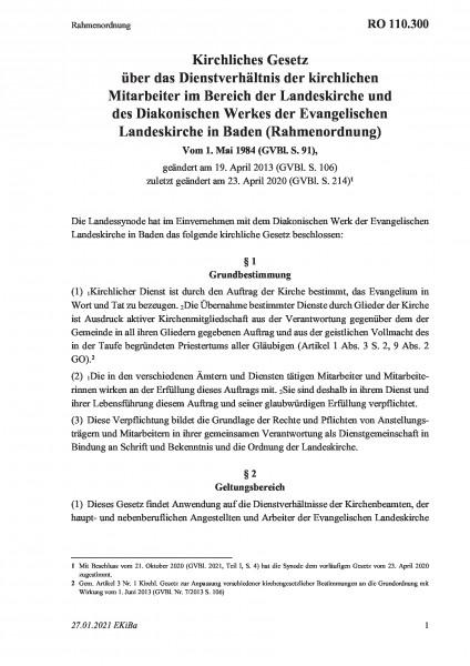 110.300 Rahmenordnung