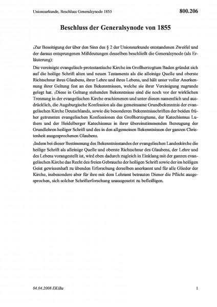 800.206 Unionsurkunde, Beschluss Generalsynode 1855